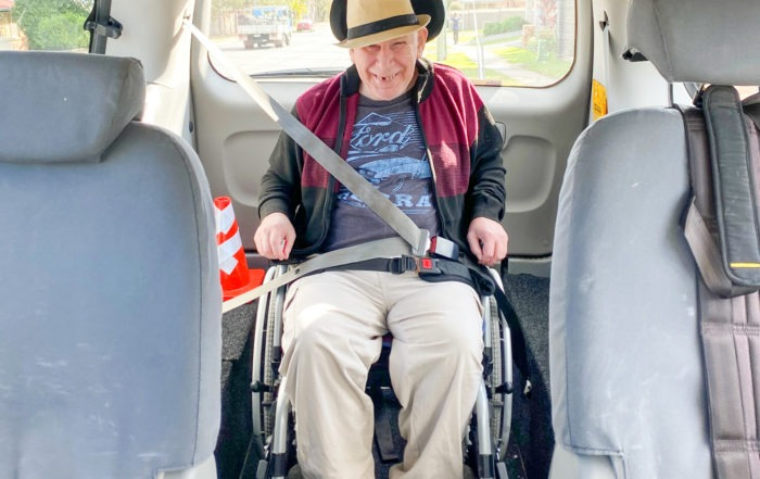 NDIS CLAS support client in wheelchair